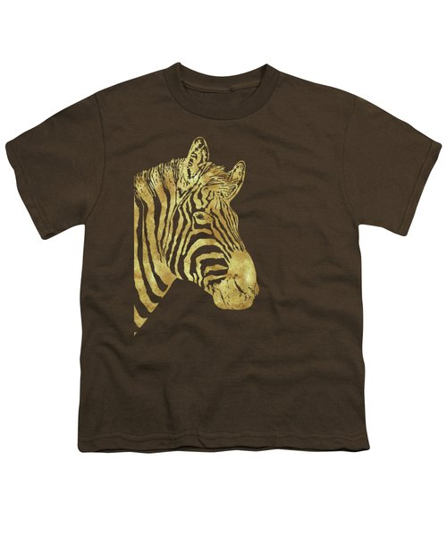 Gilt Zebra, African Wildlife, Wild Animal In Painted Gold Youth T-Shirt by Tina Lavoie
