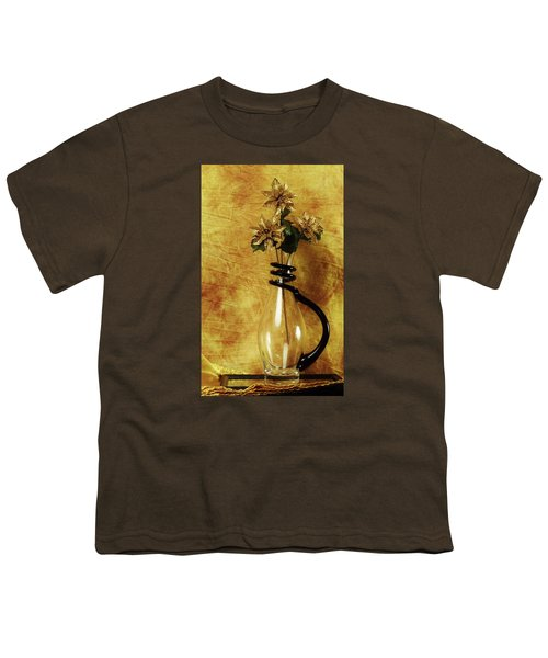 Gold Flowers In Vase Youth T-Shirt