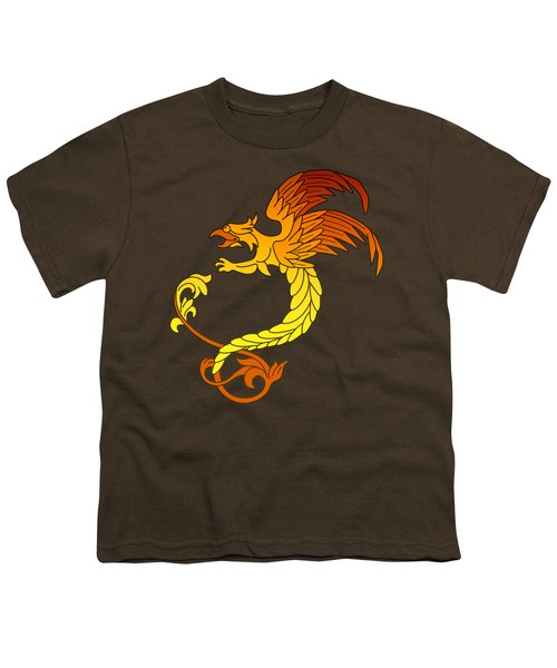 Griffin Griffon Gryphon In Flaming Colours Youth T-Shirt by Heidi De Leeuw