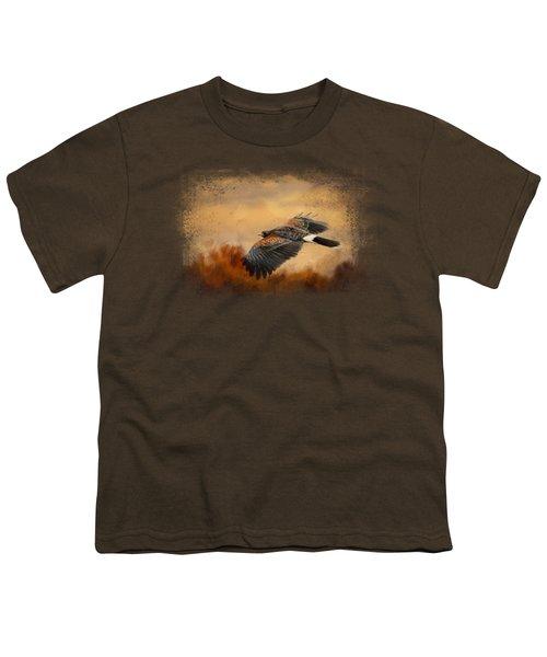 Harris Hawk In Autumn Youth T-Shirt by Jai Johnson
