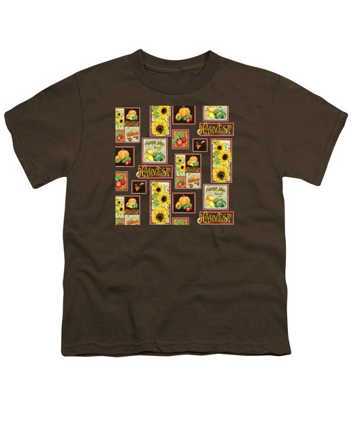 Harvest Market Pumpkins Sunflowers N Red Wagon Youth T-Shirt by Audrey Jeanne Roberts