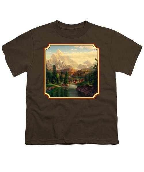 Indian Village Trapper Western Mountain Landscape Oil Painting - Native Americans -square Format Youth T-Shirt