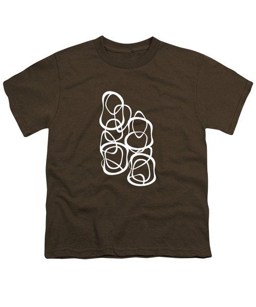 Interlocking - White On Coffee - Pattern Youth T-Shirt