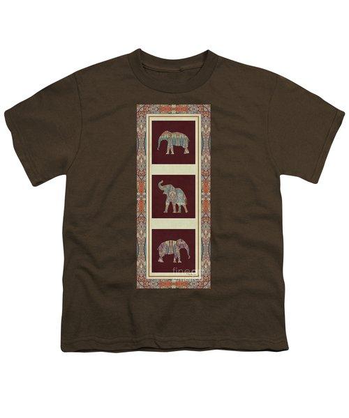 Kashmir Elephants - Vintage Style Patterned Tribal Boho Chic Art Youth T-Shirt by Audrey Jeanne Roberts