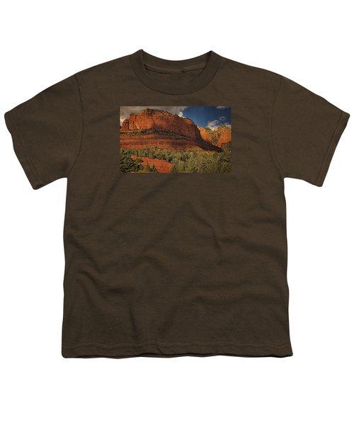 Late Light At Brin's Mesa Txt Pano Youth T-Shirt