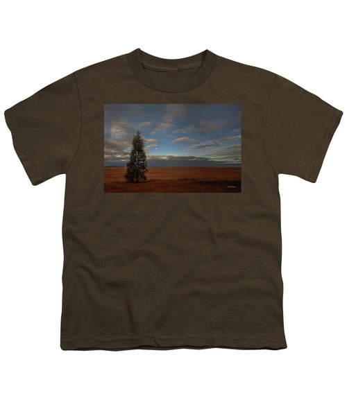 Moonset  In A Large Morning Sky Youth T-Shirt