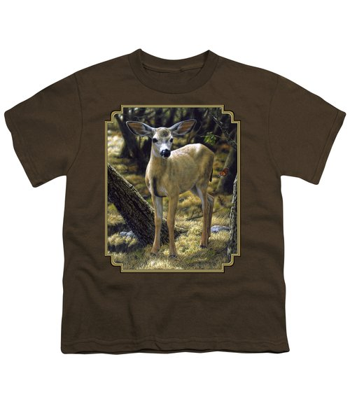 Mule Deer Fawn - Monarch Moment Youth T-Shirt by Crista Forest