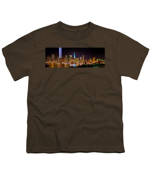 New York City Tribute In Lights And Lower Manhattan At Night Nyc Youth T-Shirt by Jon Holiday