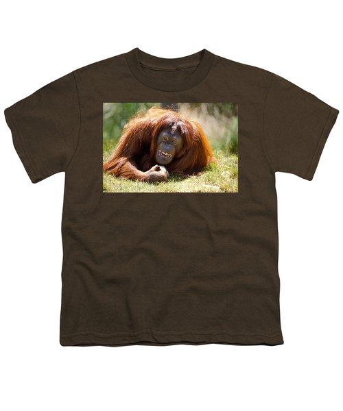 Orangutan In The Grass Youth T-Shirt by Garry Gay