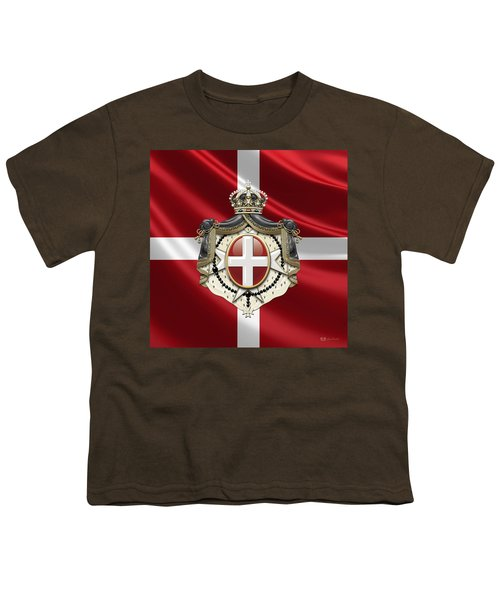 Order Of Malta Coat Of Arms Over Flag Youth T-Shirt