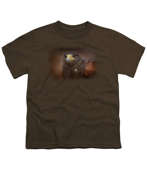 Portrait Of The Harris Hawk Youth T-Shirt by Jai Johnson