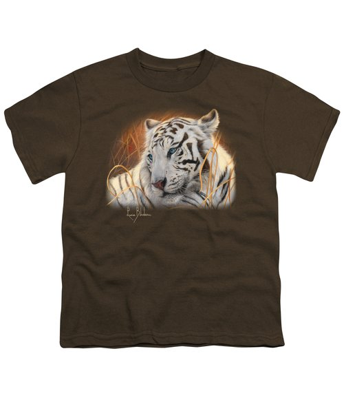Portrait White Tiger 1 Youth T-Shirt by Lucie Bilodeau