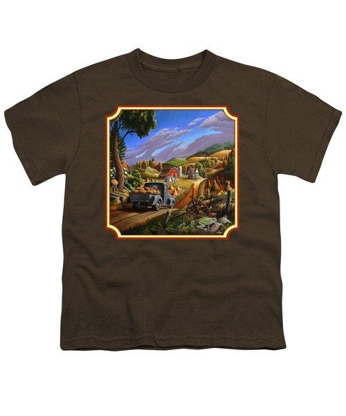 Pumpkins Farm Folk Art Fall Landscape - Square Format Youth T-Shirt