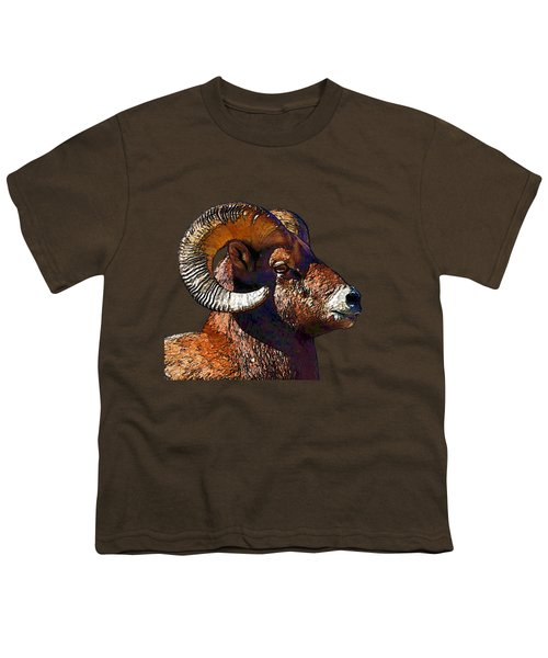 Ram Portrait - Rocky Mountain Bighorn Sheep By Olena Art Youth T-Shirt