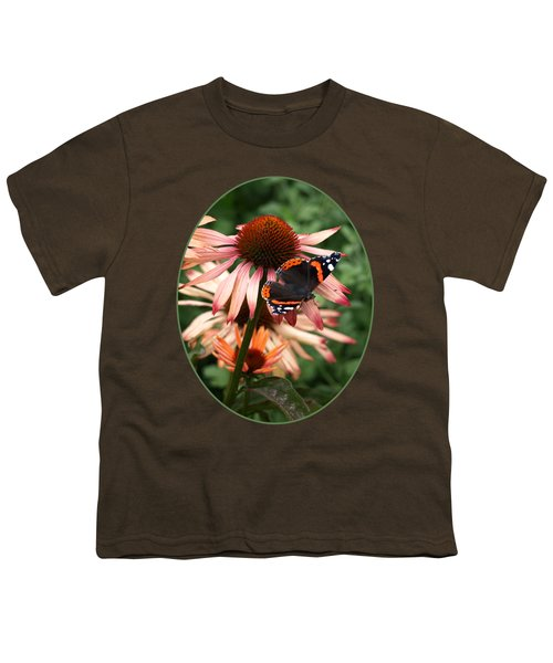 Red Admiral On Coneflower Youth T-Shirt by Gill Billington