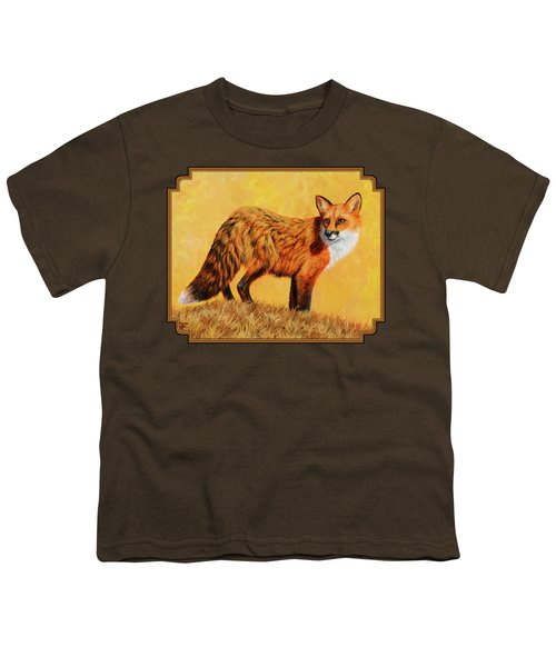 Red Fox Painting - Looking Back Youth T-Shirt