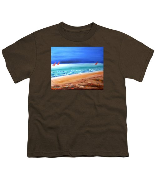 Youth T-Shirt featuring the painting Red Sails by Winsome Gunning