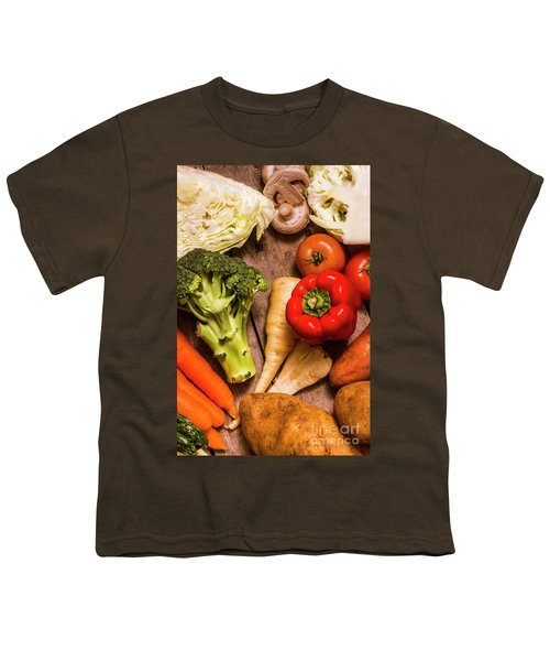 Selection Of Fresh Vegetables On A Rustic Table Youth T-Shirt by Jorgo Photography - Wall Art Gallery