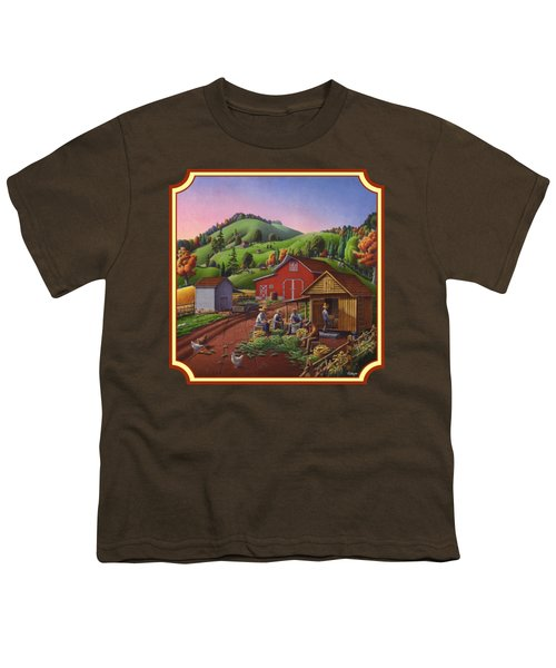 Shucking And Storing Corn In The Corn Crib Farm Landscape - Square Format Youth T-Shirt