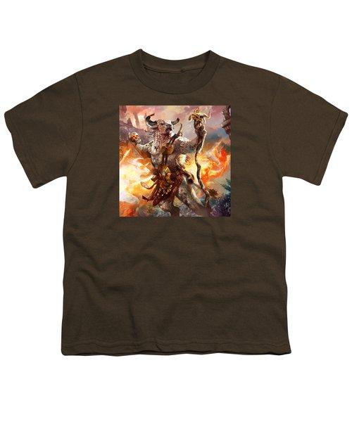 Spiritcaller Shaman Youth T-Shirt by Ryan Barger