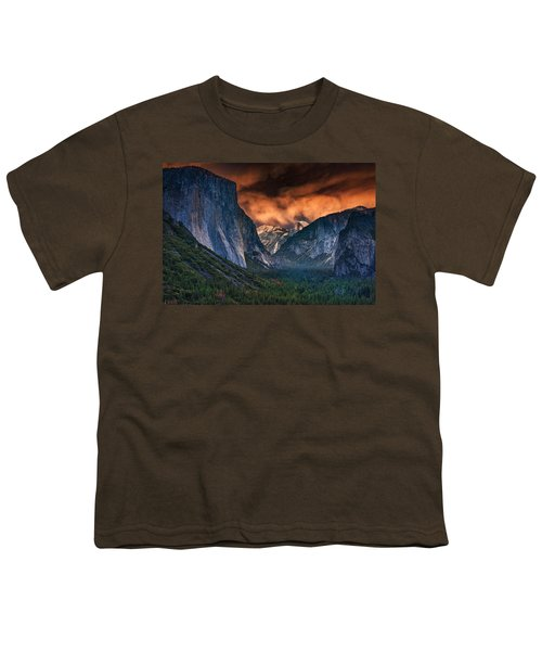 Sunset Skies Over Yosemite Valley Youth T-Shirt by Rick Berk