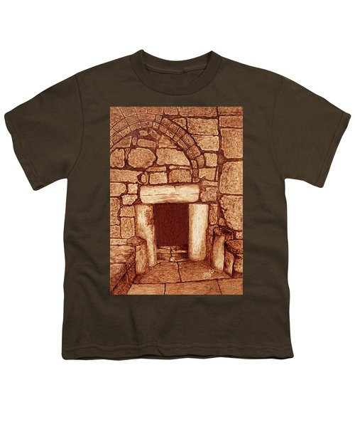 Youth T-Shirt featuring the painting The Door Of Humility At The Church Of The Nativity Bethlehem by Georgeta Blanaru