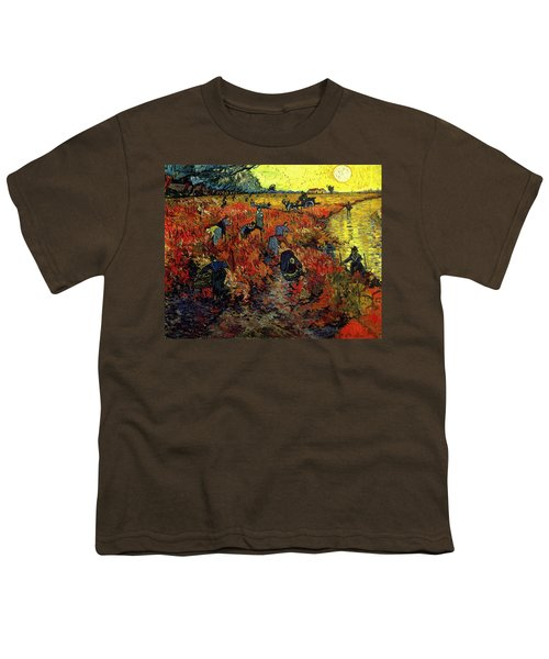 Youth T-Shirt featuring the painting The Red Vineyard At Arles by Van Gogh