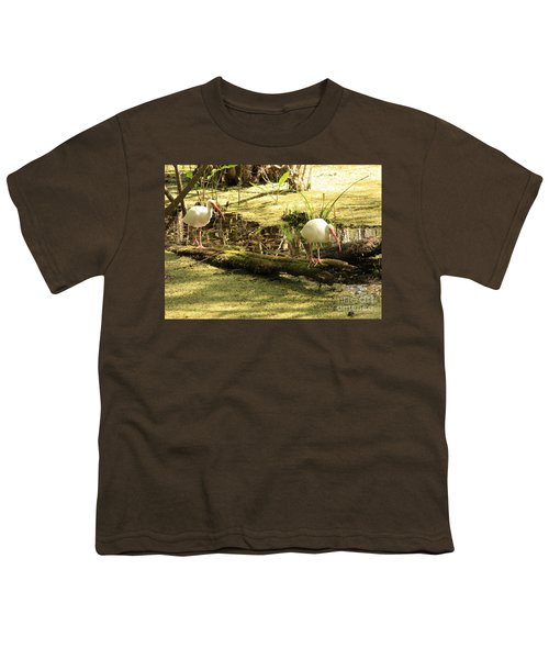 Two Ibises On A Log Youth T-Shirt by Carol Groenen