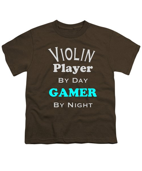 Violin Player By Day Gamer By Night 5633.02 Youth T-Shirt by M K  Miller