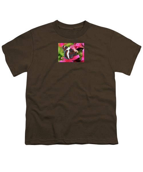 White Admiral Butterfly On Pink Flowers Youth T-Shirt