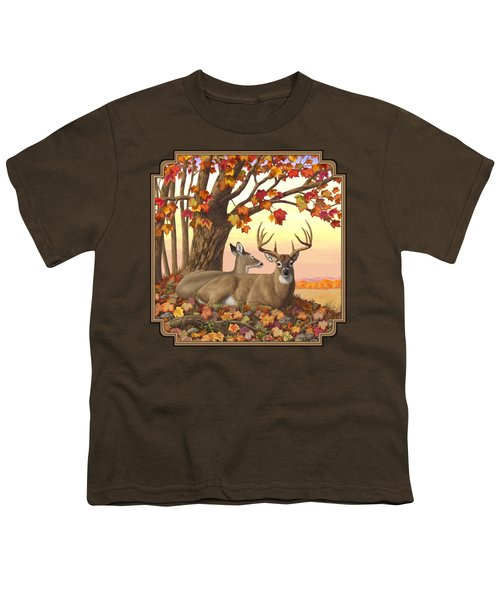 Whitetail Deer - Hilltop Retreat Youth T-Shirt by Crista Forest