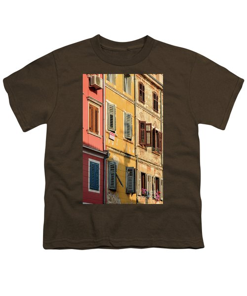 Windows Of Rovinj, Istria, Croatia Youth T-Shirt