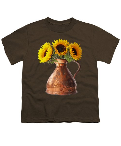 Sunflowers In Copper Pitcher On Black Youth T-Shirt
