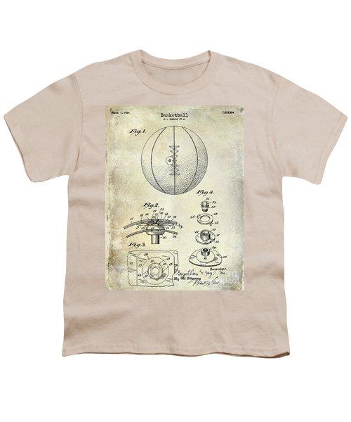 1927 Basketball Patent Drawing Youth T-Shirt by Jon Neidert