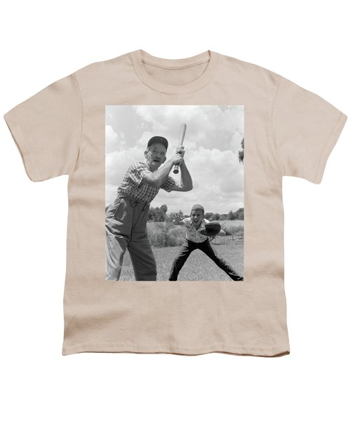 1950s Grandfather At Bat With Grandson Youth T-Shirt