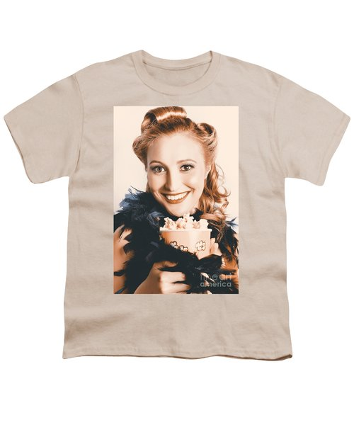 Fifties Pinup Woman Seeing Movie At Retro Cinema Youth T-Shirt