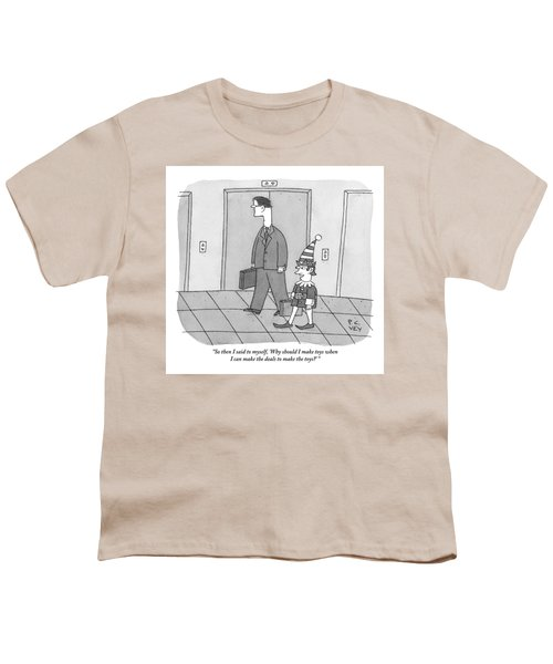 An Elf Carrying Briefcase Says To The Man Youth T-Shirt