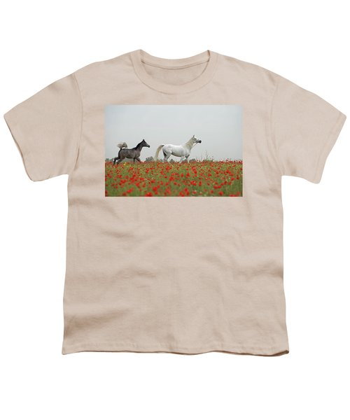 Youth T-Shirt featuring the photograph At The Poppies' Field... 2 by Dubi Roman