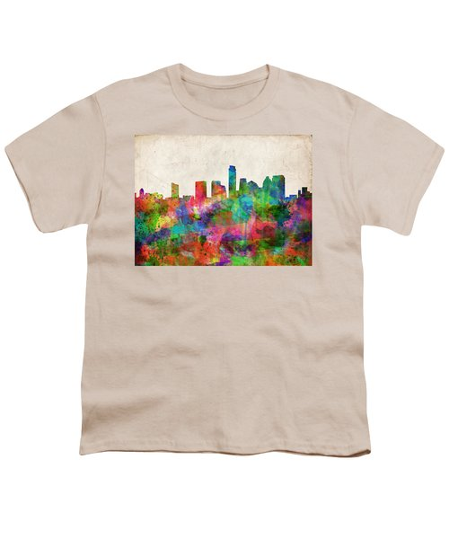 Austin Texas Abstract Panorama 4 Youth T-Shirt