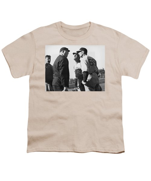 Baseball Umpire Dispute Youth T-Shirt by Underwood Archives