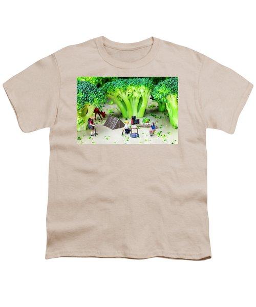 Camping Among Broccoli Jungles Miniature Art Youth T-Shirt by Paul Ge