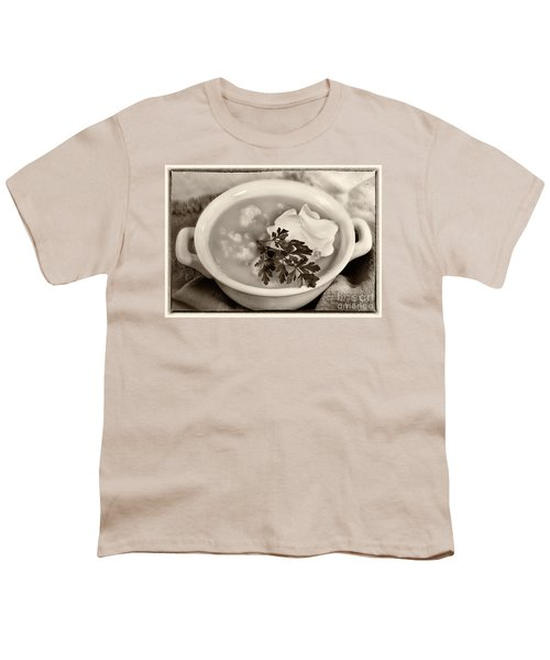 Cauliflower Soup Sepia Tone Youth T-Shirt by Iris Richardson