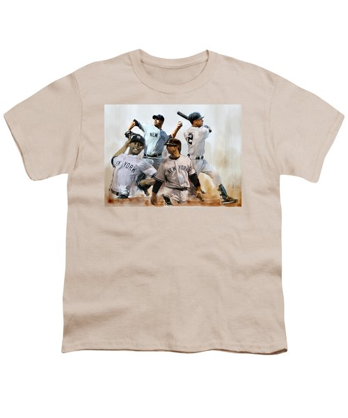 Core  Derek Jeter Mariano Rivera  Andy Pettitte Jorge Posada Youth T-Shirt by Iconic Images Art Gallery David Pucciarelli