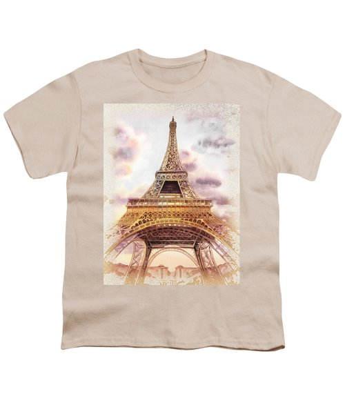 Youth T-Shirt featuring the painting Eiffel Tower Vintage Art by Irina Sztukowski