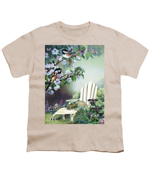 Chickadees In Blossom Tree Youth T-Shirt by Regina Femrite