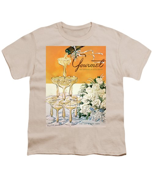 Gourmet Cover Featuring A Pyramid Of Champagne Youth T-Shirt