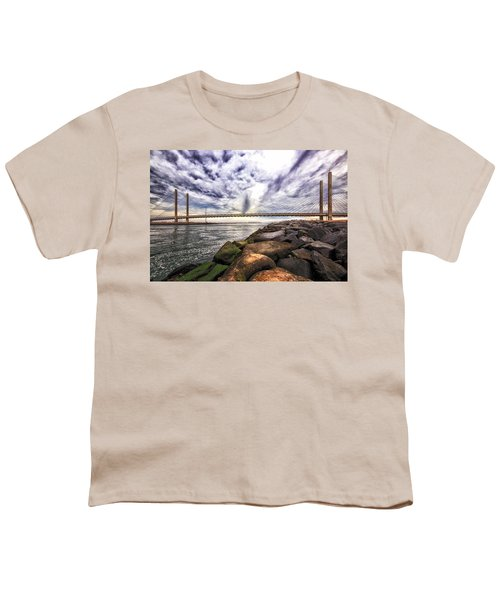 Indian River Bridge Clouds Youth T-Shirt