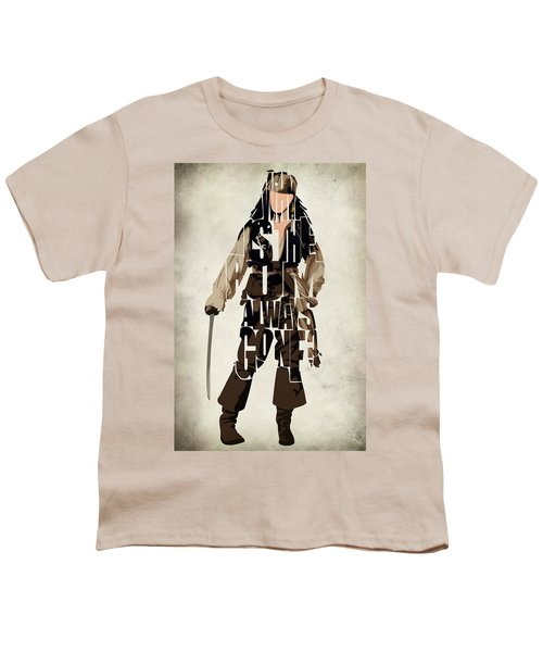 Jack Sparrow Inspired Pirates Of The Caribbean Typographic Poster Youth T-Shirt by Ayse Deniz