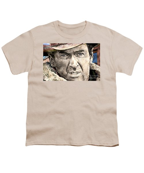 Youth T-Shirt featuring the mixed media Jimmy Stewart  by Gary Keesler