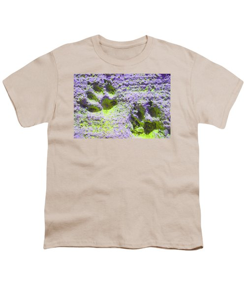 Lilac And Green Pawprints Youth T-Shirt